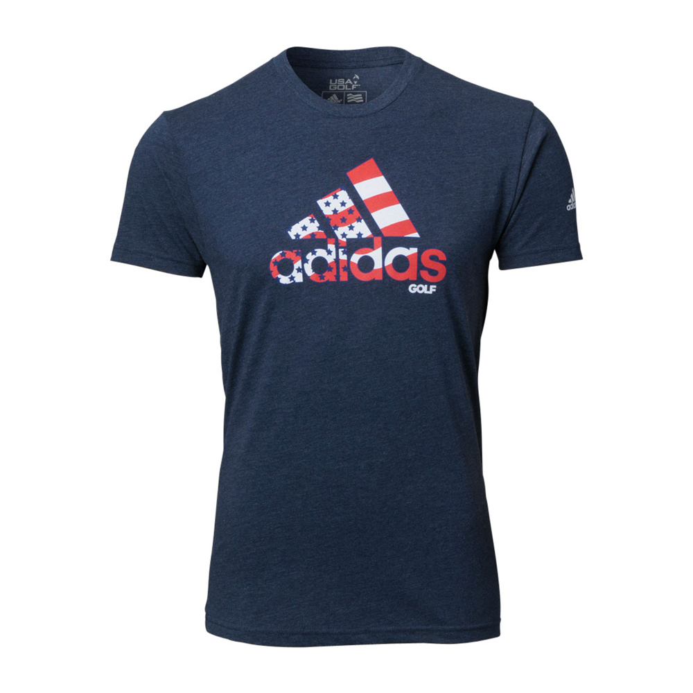 New adidas stripe adi logo tee shirt america red white for Shirts with small logos