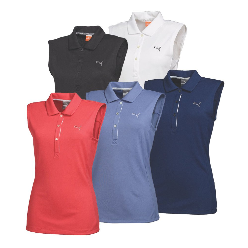 Women 39 s puma tech sleeveless golf shirt discount women 39 s for Ladies sleeveless golf polo shirts