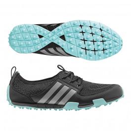 Women's Adidas ClimaCool Ballerina II Golf Shoes Core Black/Silver Metallic/Clear Aqua 6.5 M