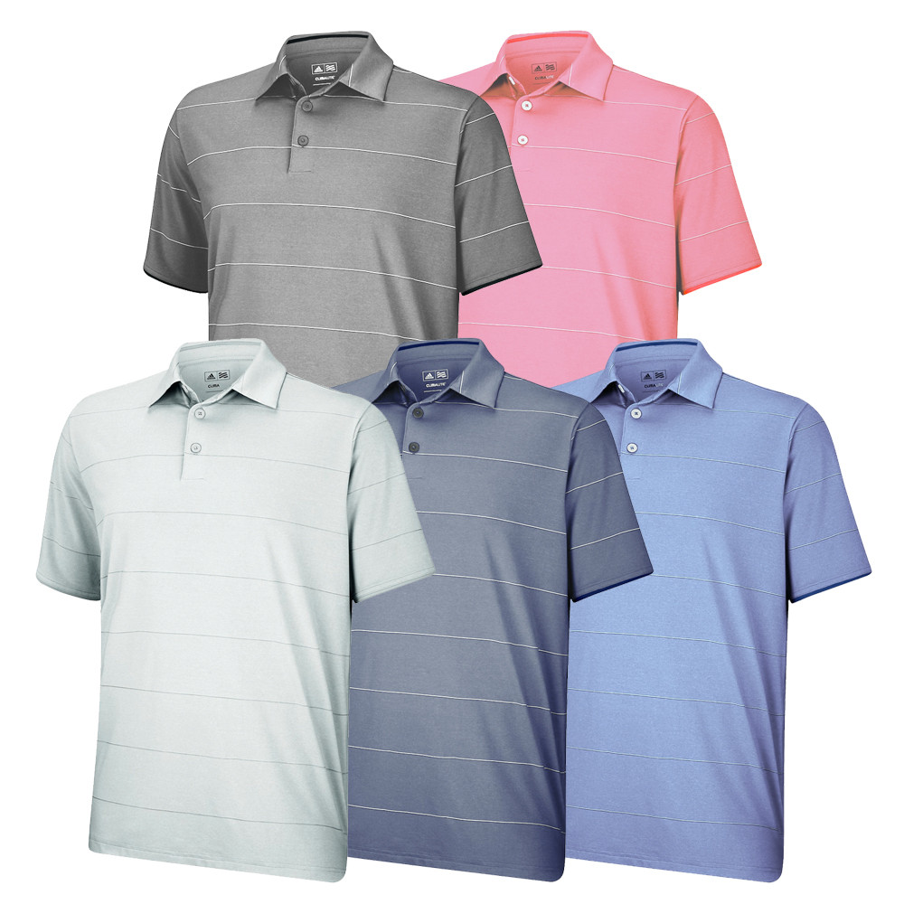 Adidas ClimaLite Heathered Thin Stripe Polo - Adidas Golf