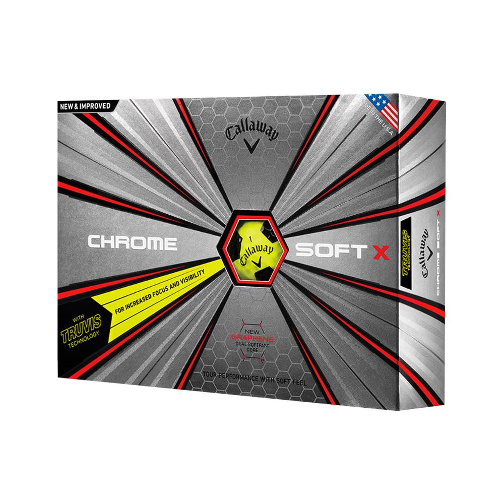 2018 Callaway Chrome Soft X Truvis Yellow Golf Balls - 1 Dozen