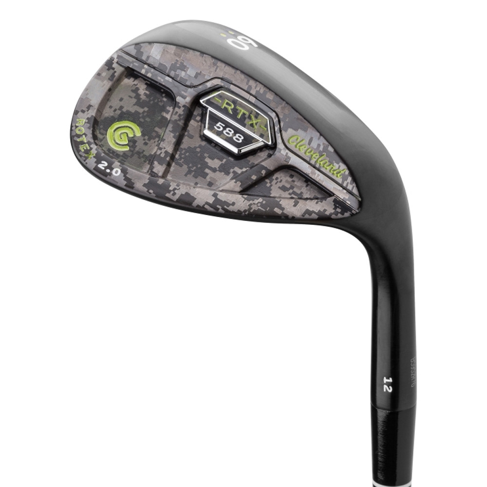Cleveland 588 RTX 2.0 Custom Edition Black Satin Cavity Back Camo Lime Green Wedge