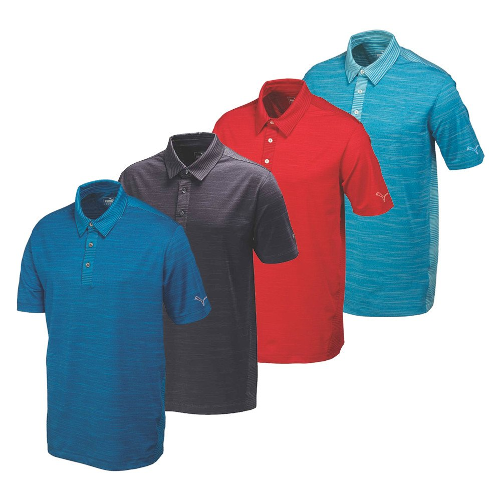 PUMA Heather Stripe Polo Cresting Golf Shirt - PUMA Golf