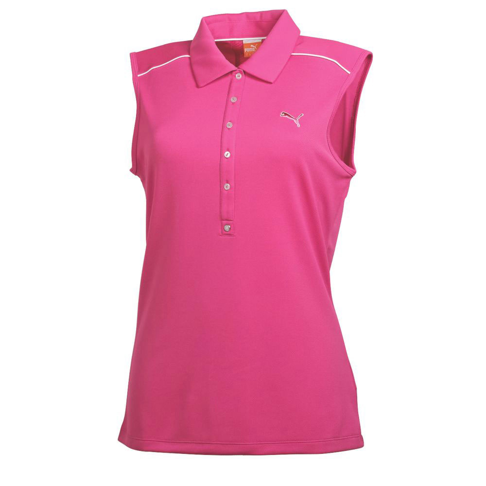 Women 39 s puma tech sleeveless polo golf shirt w drycell for Ladies sleeveless golf polo shirts